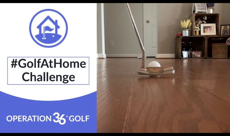 To the left there is a graphic that shows the Golf at Home hashtag. On the right is a picture of som