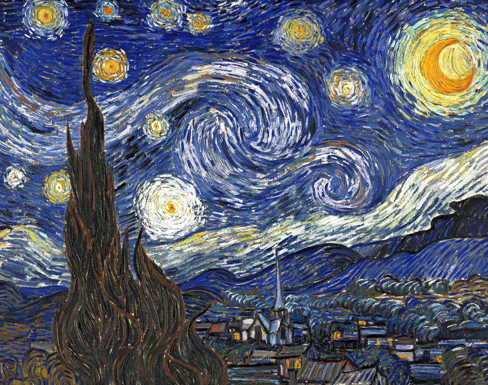 "An image of the painting ""The Starry Night"" by Vincent Van Gogh"