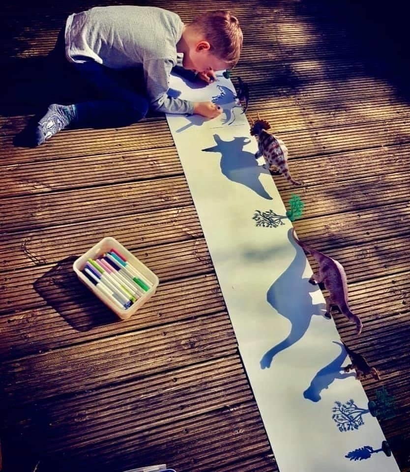 A boy outlining the shadows of toy dinosaurs on a long piece of paper.