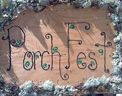 Porchfest logo carved in wood